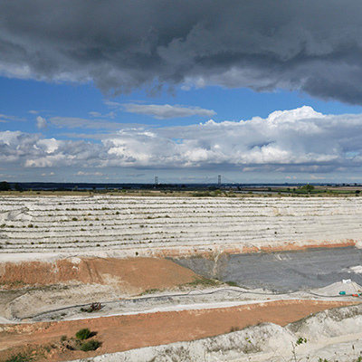 Chalk quarry and Humber Bridge, South Ferriby